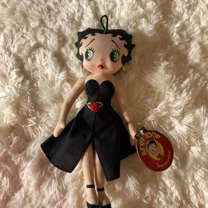 "Vintage Betty Boop 12"" Plush Doll with Black Dress"